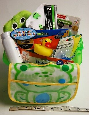 Baby Shower  Gift Basket Baby Bath Frog and Duck and  Feeding Items NEW