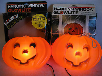 """Blinky Glow Lite Jack-O-Lite Made in USA (2) 9 1/2"""" Lighted Pumpkins VGC in Box"""