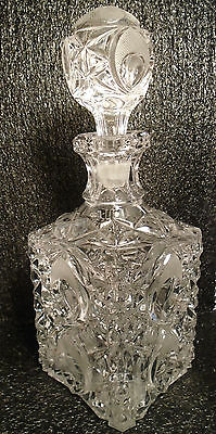 Crystal Glass Square Abp Decanter Antique American Brilliant Cut