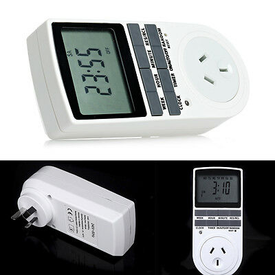 1x 230V 10A Programmable Digital Timer Socket Electronic Power AU Plug in Switch