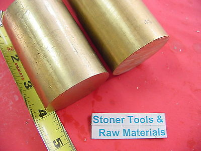 """2 Pieces 1-3/4"""" C360 BRASS ROUND ROD 4"""" long Solid 1.75"""" OD H02 Lathe Bar Stock"""