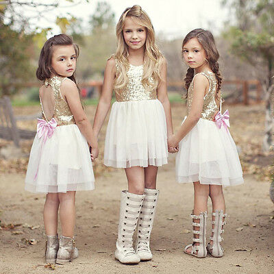 Sequins Baby Flower Girl Dress Bow Backless Party Gown Formal Bridesmaid Dresses