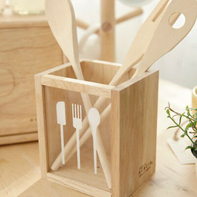 WOOD CUTLERY CADDY Kitchen Utensil Flatware Silverware Stainless Storage Holder