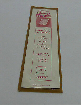 Showgard stamp mounts - assorted pack of 20 mounts - clear backed