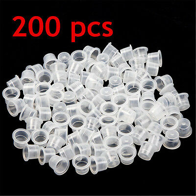 UK LOT DE 200 Moyen Grand Capsule Encre Ink Plastiques Tatouage Tattoo 12mm 9mm