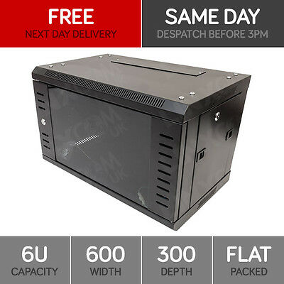 """6U 19"""" Network Cabinet Rack Wall Mounted 600*300mm Black Data Comms Patch Panel"""
