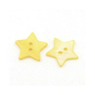 Packet of 10 x Gold Shell 20mm Star Buttons (2 Hole) Y01180