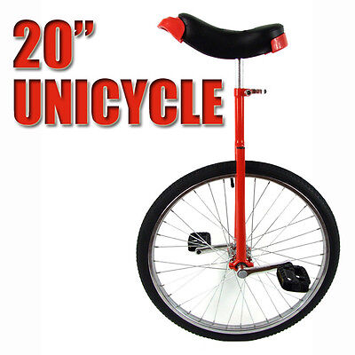 "Red 20"" Unicycle Fitness Pro Fun Uni Cycle Scooter Circus Bike Youth Kids"