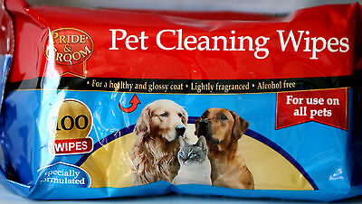 Pack Of 100 Pet Cleaning Wipes Use on All Pets Alcohol Free For a healthy Coat
