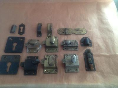 Lot of 7 Vintage Antique  Small Cupboard Cabinet Showcase Latch Catch Locks