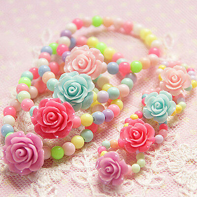 Multicolor Beads Baby Bracelet Camellia Girls Jewelry Set Rings Birthday Gifts