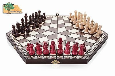 3 PLAYER CHESS SET - small 28cm x 14cm x 4cm (White, Black, Red) Handcrafted Woo