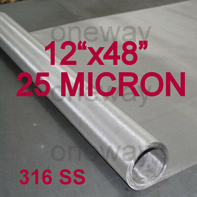 "12""x48"" ROLL - 25 Micron - Stainless Steel 316- Rosin Tech Press Machine screen"