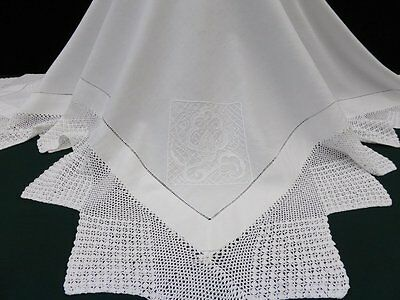 """Antique White Linen Tablecloth-Hand Embroidered-Crochet-62"""""""