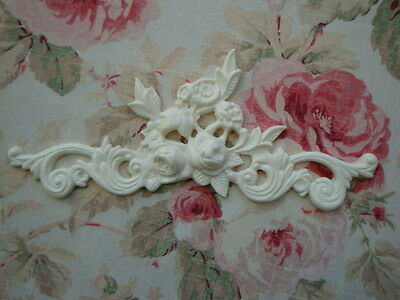 Shabby & Chic Rose Floral & Scroll Furniture Applique Architectural Pediment