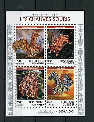 Niger 2015 MNH Bats 4v M/S Wild Animals Gambian Epauletted Fruit Bat Stamps