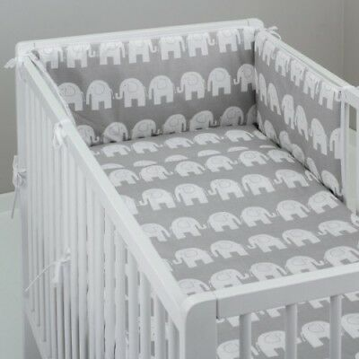 2-10 Pcs Baby Nursery Bedding Set 120x90/135x100/150x120 White Elephants on Grey