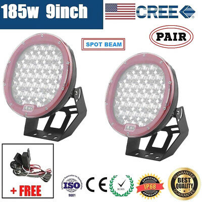 2x 9inch 185W CREE LED DRIVING LIGHT OFFROAD ROUND SPOTLIGHT WORK AUTO LAMP 4WD