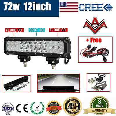 12inch 72W CREE LED LIGHT BAR FLOOD SPOT OFFROAD DRIVING WORK AUTO LAMP CAR 4WD