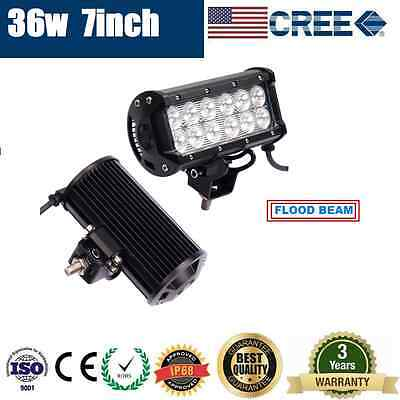 7inch 36W CREE LED LIGHT BAR FLOOD BEAM OFFROAD DRIVING WORK AUTO FORKLIFT LAMP