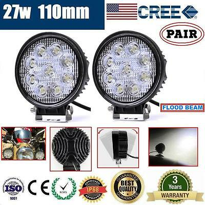 2x 27W CREE LED WORK LIGHT OFFROAD DRIVING FLOOD LIGHT AUTO LAMP FORKLIFT ATV4X4
