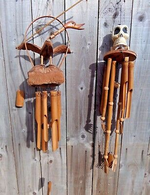 FairTrade Hand Made Bamboo Wooden Wood Duck Skeleton Windchime Wind Chime Mobile
