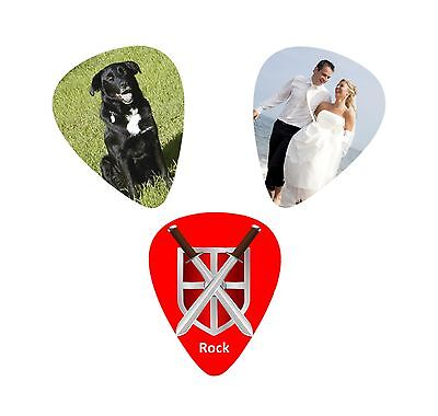 Personalised Custom Printed Guitar Plectrum Pick Your Photo / Text Band Gift