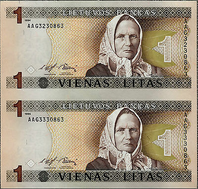 LITHUANIA 1994 ZEMAITE 2 in 1 UNCUT NOTES 1 LITAS P-53 UNC