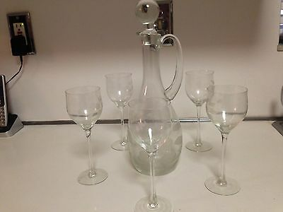 Decanter Bottle With Five Wine Glasses Clear Glass Etched Flowers - 7 Pcs Total