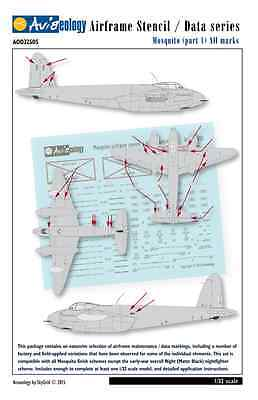 Mosquito - Airframe Stencil Data Markings - 1/32 scale Aviaeology Decals