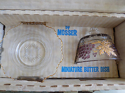 Mosser Grape Thumbprint Pattern Butter Dish Child Size Miniature Tea Set Vintage