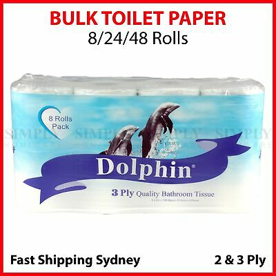 Toilet Paper Bulk Rolls Bath Tissue Bathroom White Soft 2 & 3 Ply Roll 8-48x