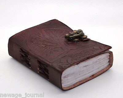 Tree Of Life Handmade Book Of Shadows Leather Bound Journal W/ Brass Lock Wicca
