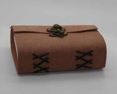 Soft Leather Handmade Book Of Shadows Leather Bound Journal W/ Brass Lock Wicca