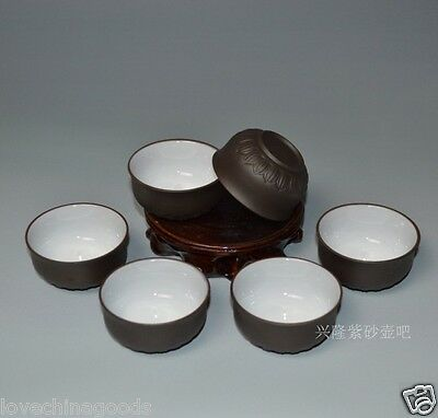 6pcs*50ml kungfu teacup Lotus carved Cup ZISHA purple clay cup of tea in Chinese