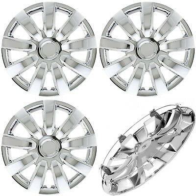 """4 Pc of 15"""" Inch CHROME Hub Caps (With Metal Clips) Covers for Steel Wheel Cap"""