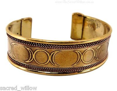 Triple Moon Copper and Brass Cuff Bracelet Wicca Witch Pagan Bangle