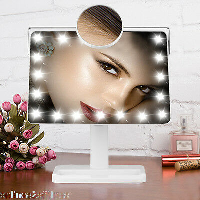 20 LED Light Make Up Mirror Touch Magnify Illuminated Bathroom Cosmetic Vanity