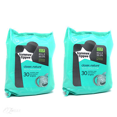 New Tommee Tippee Teat Soother And Teether Wipes 30 x2