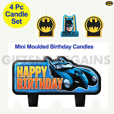 Batman Happy Birthday 4 Piece Party Candle Set for Super Heroes Themed Cake