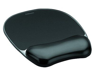 Fellowes 9112101 Crystals Gel Mouse Pad And Wrist Support - Black NEW