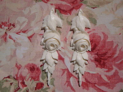 Rose and Leaf Drops Pair Furniture Applique Architectural Onlay
