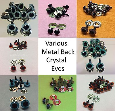 Various CRYSTAL EYES with METAL BACKS for Teddy Bear Making Soft Toy Doll EN71