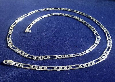 """SC 004 Plum UK 20"""" / 50cm x 4mm Sterling Silver Overlay Figaro Curb Chain BOXED"""