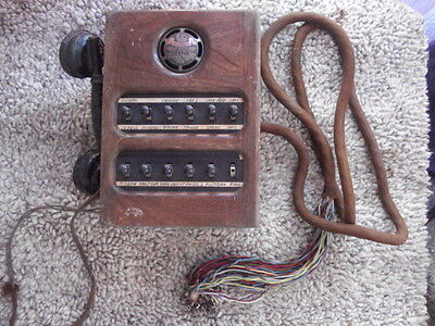 ANTIQUE DICTOGRAPH SYSTEM SUB-STATION , Oak 12 Channel Telephone