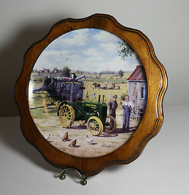 John Deere Wall Plate Farmer's Pride AR Tractor by Ross Logan Wood Frame Farmer