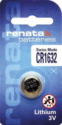 1 x Renata CR1632 Watch Batteries, 3V Lithium, 1632