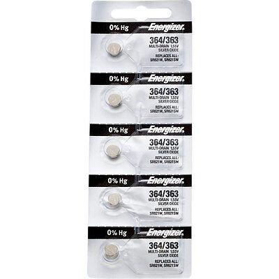 10 x Energizer 364 Watch Batteries, 0% MERCURY equivilate SR621SW