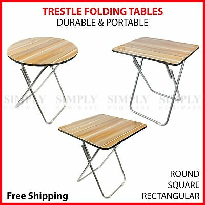 Round Folding Table Trestle Portable Foldable Camping Picnic Square Rectangular