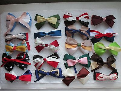 "20 Fashion Girl Ribbon Hair Bows Alligator Clips 3.5-5"" Wholesale Many Colors"